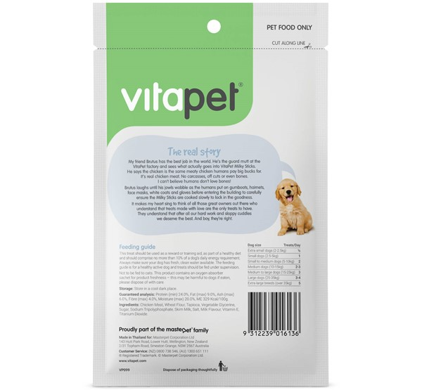 VitaPet Milky Sticks - Back of Pack
