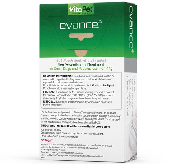 Flea Treatment for Dogs and Puppies under 4kg - Evance - Back of Pack
