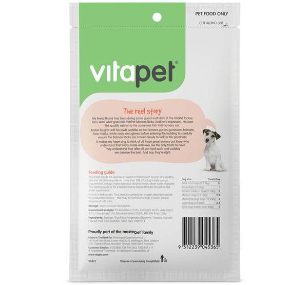 VitaPet Salmon Sticks - Back of Pack