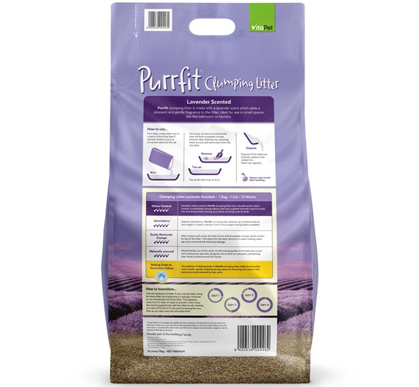 Cat Litter - Purrfit Clumping 15L - Back of Pack