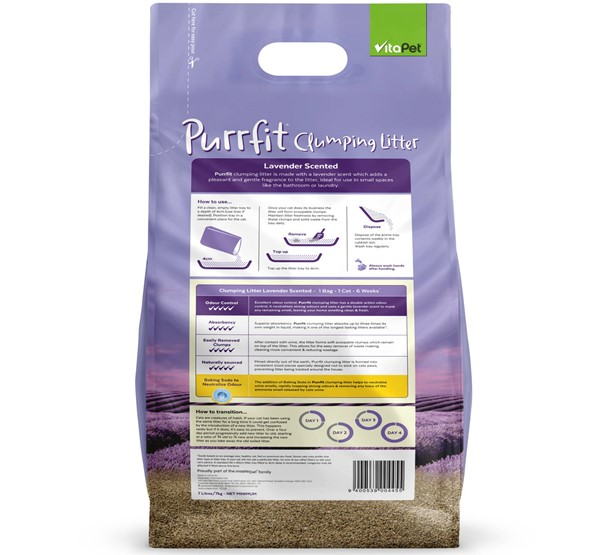 Cat Litter - Purrfit Clumping 7L - Back of Pack