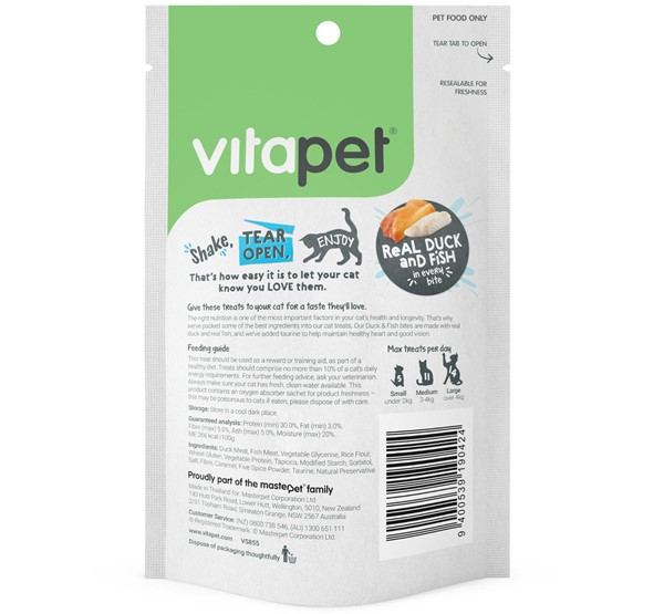 VitaPet Natural Duck and Fish Bites - Cat Treats - Back of Packs