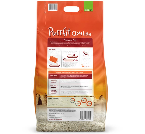 Cat Litter - Purrfit Clay 15L - Back of Pack