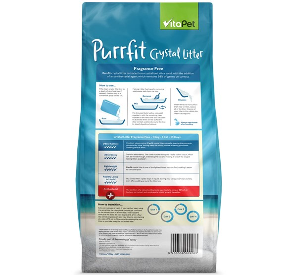 Cat Litter - Purrfit Crystal - Back of Pack