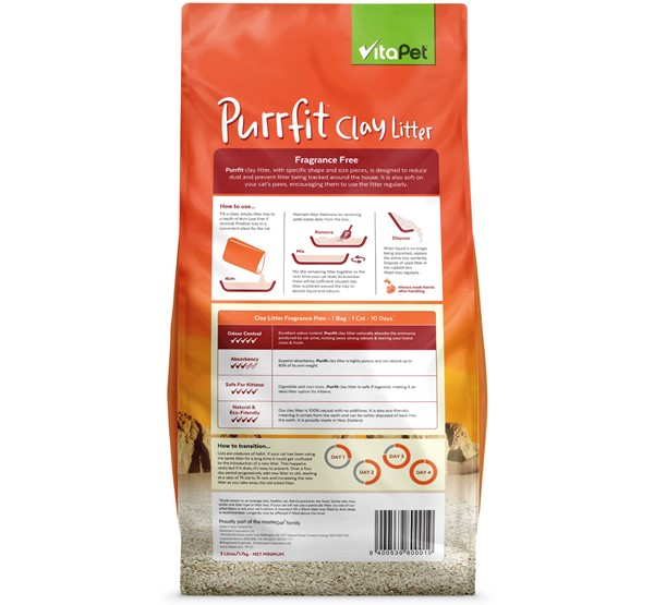 Cat Litter - Purrfit Clay 3L - Back of Pack
