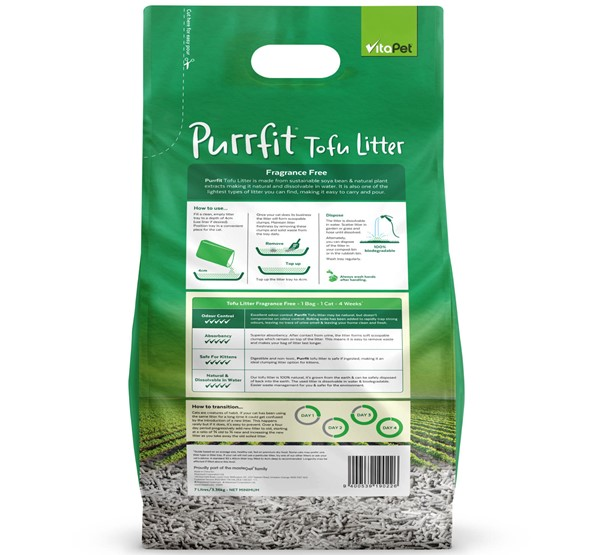 Cat Litter - Purrfit Tofu 7L - Back of Pack