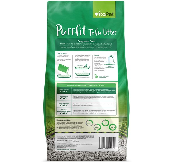 Cat Litter - Purrfit Tofu 3L - Back of Pack