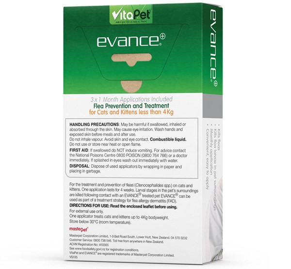 Flea Treatment for Cats - Evance - Small Cats & Kittens - Back of Pack