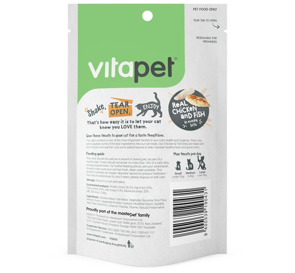 VitaPet Natural Chicken and Fish Bites - Back of Pack
