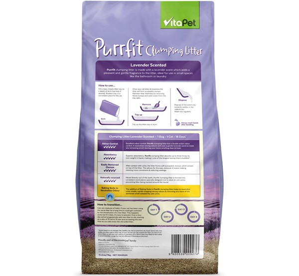 Cat Litter - Purrfit Clumping 3L - Back of Pack